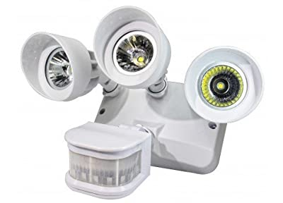 UL Listed Outdoor LED Security Three Headed Floodlight *with Motion Sensor*, Waterproof, 5000K, 3090 Lumens Bright- White...