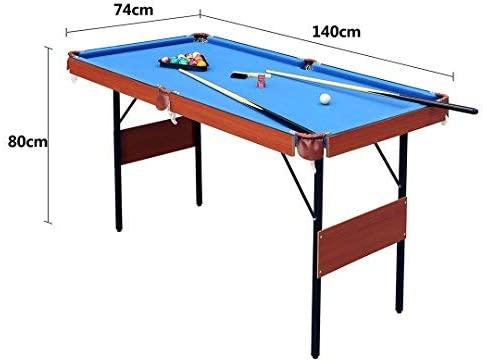 Amazon Com Funmall 55 Folding Pool Table Space Save Billiard Table For Kids And Adults With Cues Ball Chalk Rack Brush Included Blue Sports Outdoors