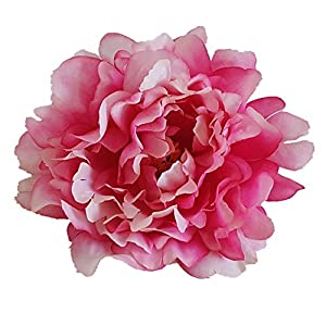 Eternal Blossom 10pcs Artificial Peony Flower, Silk Peony Fake Flower Head Diameter 13cm for Wedding, DIY and House Dressing (Deep Pink) 77