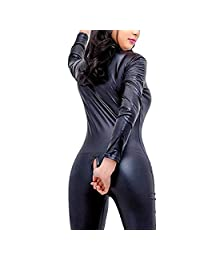 Women's Shiny Liquid Metallic Wet Look Zipper Front Catsuit Open Cup Crotchless Bodysuit Stretch Jumpsuit