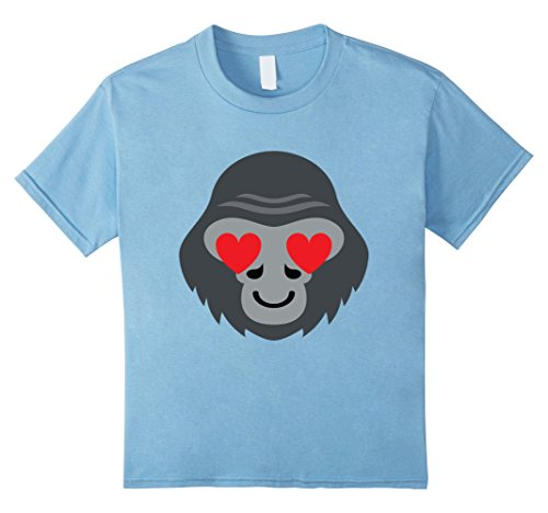 Kids Gorilla Emoji Heart & Love Eye Shirt T-Shirt Tee 12 Baby Blue (Youth Gorilla Costume)