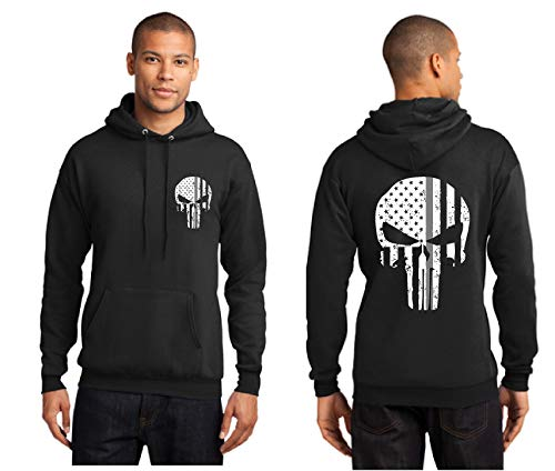 Thin Silver Line Punisher Skull with Tattered American Flag Corrections Black Hooded Sweatshirt - Correction Jet Air