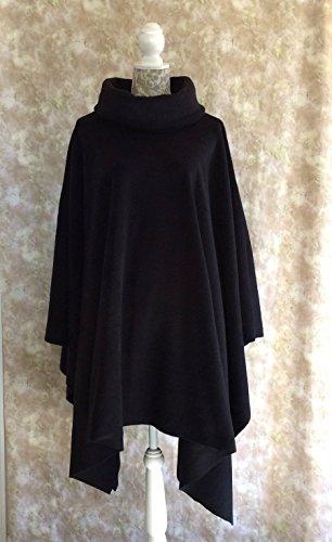 Fleece Poncho Cape Shawl Wrap Medium Misses 12-14 Turtleneck Collar Topstitched Black 4 Colors Handmade