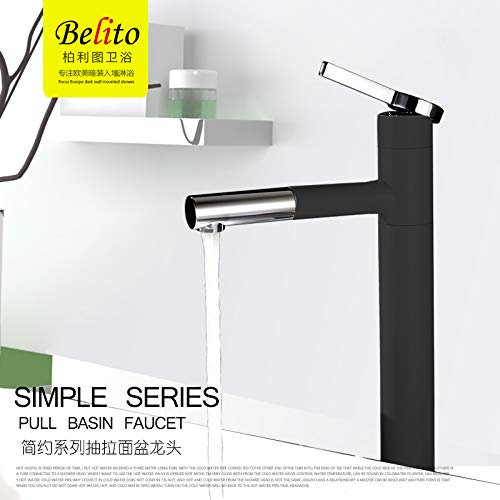 5 Black (High Models Decorry All Copper Pull-Out Faucet Cold Handwashing Basin Wash Basin Hole Basin Mixer May Be Telescopic, Chrome 2 (Short Paragraph