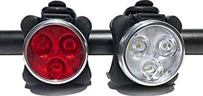 HAKAN LED USB Rechargeable Bicycle Bright Light Set | 4 Light Modes | IPX4 Water Resistant ? Mountain Bike Universal FIT with Clip & Mount Strap ? 1 White & 1 Red Lights, 2 Bands, 2 USB Plugs