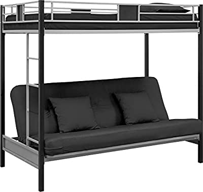 DHP Screen Over Futon Metal Bunk Bed, Silver/Black
