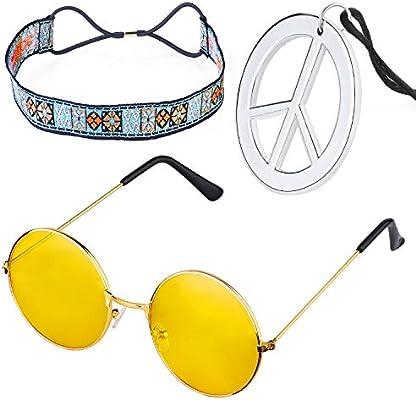 1970s Mens Hippie Hippy Kit 70s 60s Peace Medallion Round Glasses