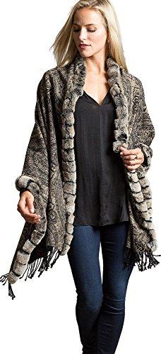 Cara Cashmere Wrap with Rex Rabbit Fur Trim by Overland Sheepskin Co