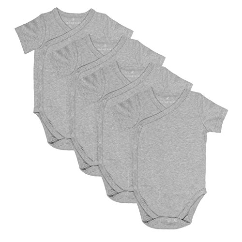 Baby Side Snap Bodysuit Set, Short Sleeve Cotton Boy Girl Kimono Onesie, 4 Pack Gray 6-12 months