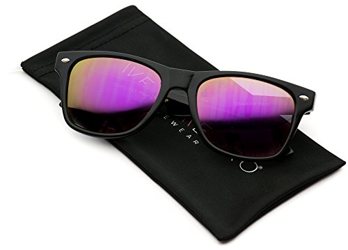 Polarized Flat Mirrored Reflective Revo Color Lens Large Horn Rimmed Style - Wayfarer Women