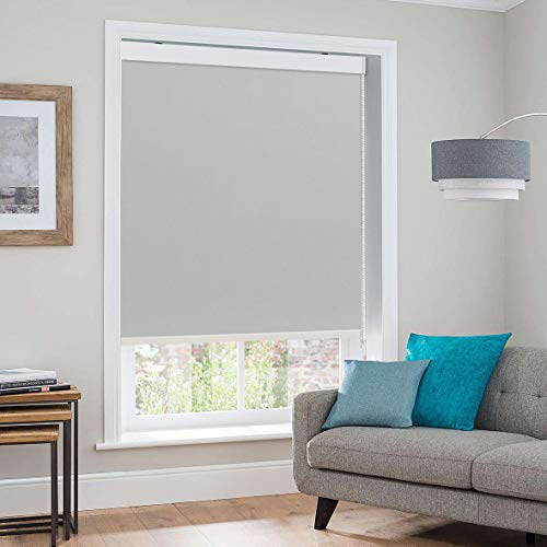 Keego Blackout Room Darkening Shade, Blinds for Windows Premium Metal Valance Thermal Insulated Roller Blinds Shades[Gray 100% Blackout,34″ W x 60″ H(Inch)]