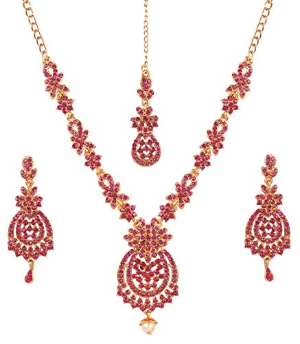 Touchstone New Indian Bollywood Awesome Fine Workmanship Stylish Studded Diamond Look Fuchsia Pink Rhinestone Designer Jewelry Necklace Set in Antique Gold Tone for Women.
