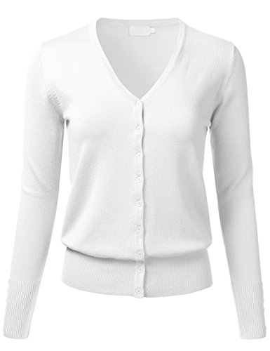 White Womens Sweater - FLORIA Women Button Down V-Neck Long Sleeve Soft Knit Cardigan Sweater White M