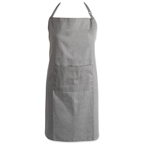DII 100% Cotton, Oversized, Extra Large, Professional Bib Chef Adult Apron, Adjustable Neck & Waist Ties, Front Pocket, Unisex, Durable, Comfortable Gray, Plus Size