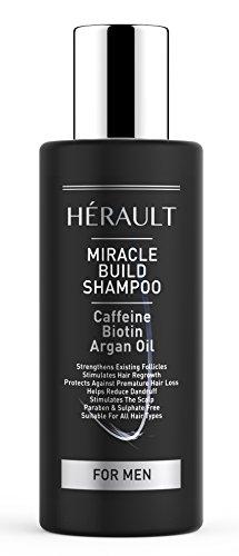 Miracle Build Shampoo mit Koffein - schützt vor Haarausfall, stärkt die Haarfollikel, bekämpft Schuppen - sulfat- und parabenfrei - enthält Biotin - 150 ml