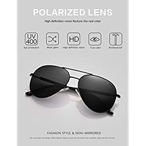 LUENX Aviator Sunglasses Mens Women Polarized Black Lens Black Metal Frame Dark 60mm with Case - UV400