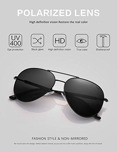 adeaa110dc9da LUENX Aviator Sunglasses Mens Women Polarized Black Lens Black Metal Frame  Dark 60mm with Case -