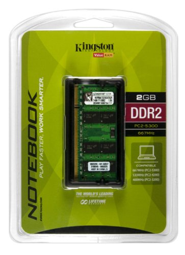Kingston ValueRAM 2 GB 667MHz DDR2 Non-ECC CL5 SODIMM Notebook Memory by Kingston (Image #1)