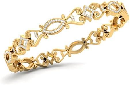 Braceletsbracelets en or jaune 14 carats HallMarked 226 cttw diamants taille ronde IJSI75 pouces
