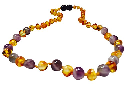 11 inch Baltic Amber Teething Necklace Newborn baby Yellow Lemon & Purple Amethyst (sadness) Drooling Teething Pain Certified Round Jewelry Guaranteed. a Twist-in Screw Clasp! ()