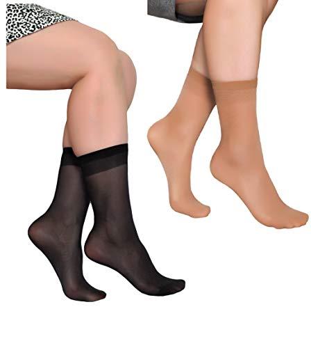 Women's Ankle High Sheer Socks 10 Pairs (Black and Beige)
