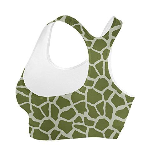 Bright Giraffe Print Sports Bra Sport-BH XS-3XL Army Green 8i9jhUT