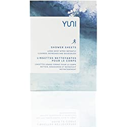 YUNI Beauty - Shower Sheets, Large Cleansing Body Wipes, Individually Wrapped for Workout and Travel, 12 Count