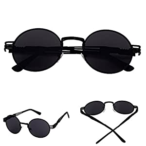 Niceskin Retro Round Mirror Sunglasses Shades for Women Men Outdoor, Resin +Metal (Black&Gray)