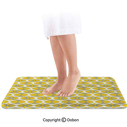 (Ikat Decor Bath Mat,Oval and Double Mesh Ikat Motifs Modern Retro Camouflage Style Decorative Lines Home,Plush Bathroom Decor Mat with Non Slip Backing,32 X 20 Inches,Grey Yellow White )