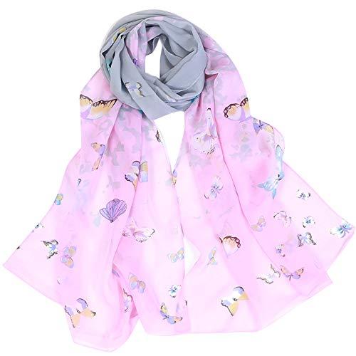 scialle Aimee7 lunghe Chic Sciarpe Sciarpa Chiffon a Farfalla Stampata rosa Donna 7XrwA70nz