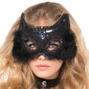 mask fancy black cat marabou