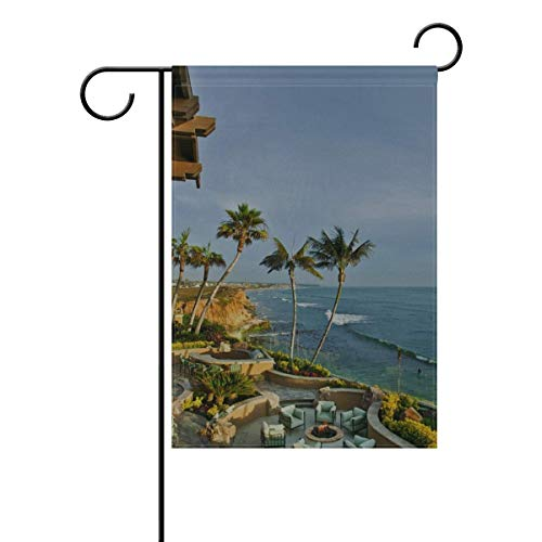 Dongingp Garden Flag USA California San - Diego City Palm Trees Sea 12x18 Inches(Without Flagpole) -