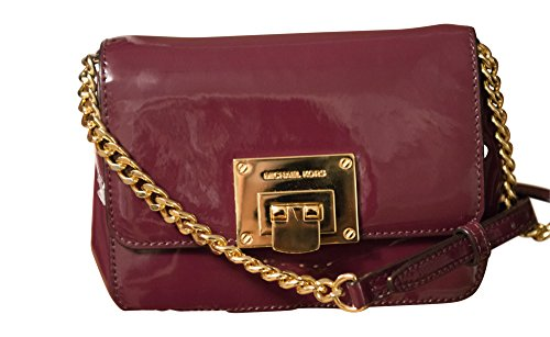 Michael Kors Tina Small Patent Leather Clutch, Crossbody Shoulder Bag, Plum (Michael Kors Iphone 5 Cover)