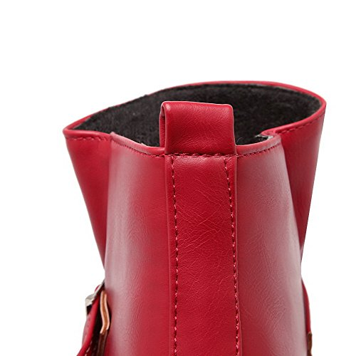 Kitten Boots Low Red Closed Heels Material Round Womens Soft Toe Solid Top AmoonyFashion wZzqHpSBnn