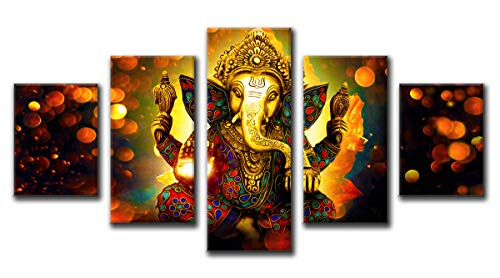 (DJSYLIFE Large 5 Pieces Lord Ganesha Indian Wall Decor - Hindu Temple Puja Mandir for Home - Elephant Zen Photo Picture Canvas Print Paintings for Living Room House Wooden Framed Decorations)