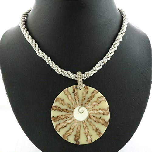 Gorgeous Cone Shell in Cream White Pendant Beige Seed Beads Choker Necklace YE-3881