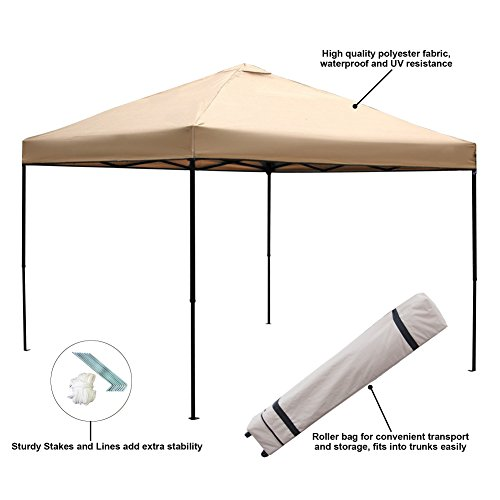 Blissun 10 x 10 Ft Outdoor Portable Instant Pop-Up Canopy Tent with Roller Bag (Beige) by Blissun