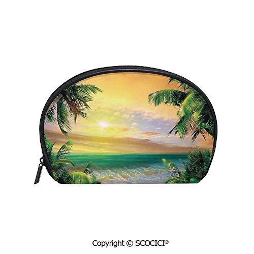 SCOCICI Durable Printed Makeup Bag Storage Bag Baldwin Beach Coastline Sunbeams Through Heavy Clouds Wavy Ocean View for Women Girl Student
