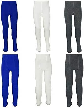 Paquete de 3 leggings para niñas de algodón liso grueso y largo, elásticos para baile escolar, para niños de 5 a 6 años, color: azul marino y blanco, gris oscuro, leggings de