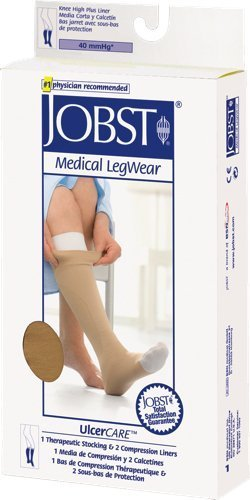 BSN Jobst UlcerCare Knee High Compression Stockings with Right Zipper and 2 Liner Small, 30 to 40mm Hg Compression, Beige, Open Toe, Unisex (1 Each) by BSN Medical by BSN Medical