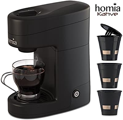 Coffee Maker Machine Single Serve - Electric Brewer for Ground Coffee, K-cup ?ompatible, 10 oz (300 ml), 1000W, 3.5 bar Pump with Reusable Capsules and Automatic Shut-Off