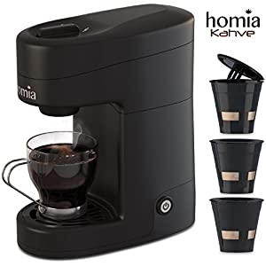 Coffee Maker Machine Single Serve – Electric Brewer for Ground Coffee, K-cup Сompatible, 10 oz (300 ml), 1000W, 3.5 bar Pump with Reusable Capsules and Automatic Shut-Off