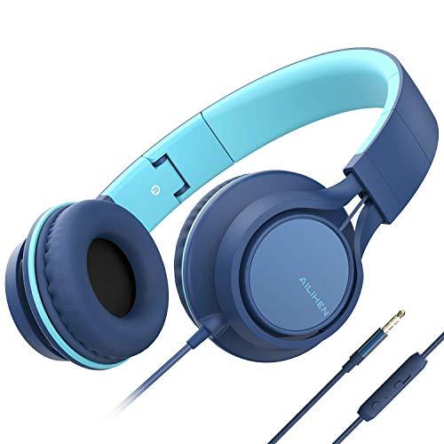 [해외]AILIHEN C8 (업그레이드) 헤드폰 마이크 및 볼륨 컨트롤 접이식 경량 헤드셋 휴대 전화 태블릿 스마트폰 노트북 컴퓨터 PC PC MP34 (인디고) / AILIHEN C8 (Upgraded) Headphones with Microphone and Volume Control Folding Lightweight Headset f...