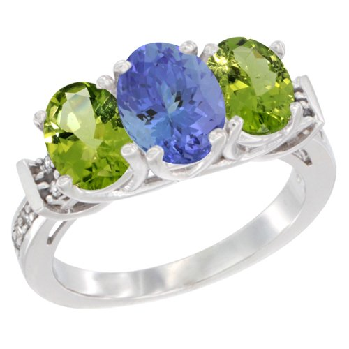 14K White Gold Natural Tanzanite & Peridot Sides Ring 3-Stone Oval Diamond Accent, size 6.5 (White Jewelry Tanzanite Gold Ring)