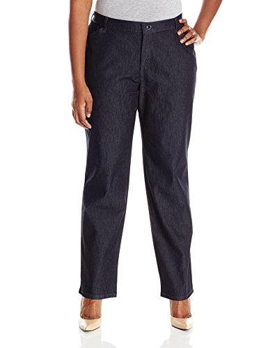 (Lee Women's Plus-Size Relaxed-Fit All Day Pant, Indigo Rinse, 18W Medium)