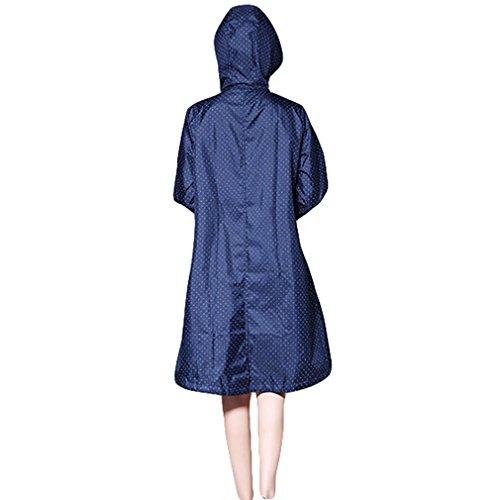 Capucha Aire de Azul Impermeable Juleya Capa Libre Transpirable Impermeable Larga Mujeres Lluvia Punto Impermeables con al Lluvia Poncho Chaqueta xwIvA4q6w