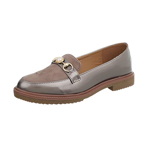 Ital-Design Women's Loafer Flats Block Heel Slippers at Grey Brown YXD7719 3920BJ