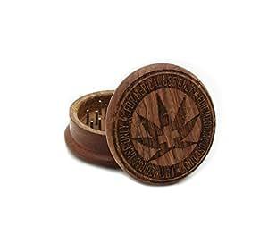 Two Piece Medical Marijuana Laser Carved Wooden Herb, Spice or Tobacco Pollen Grinder