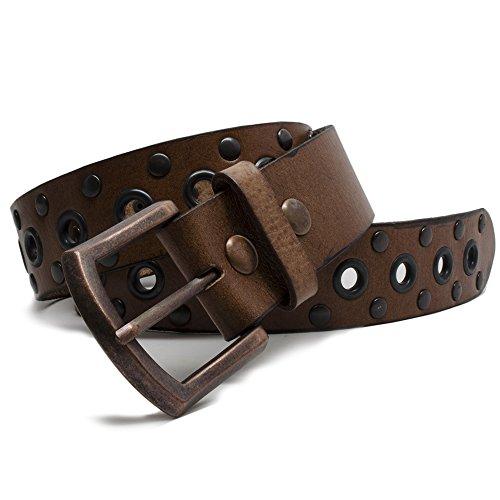 "Nickel Free Genuine Leather Studded Belt, Brown-42"""