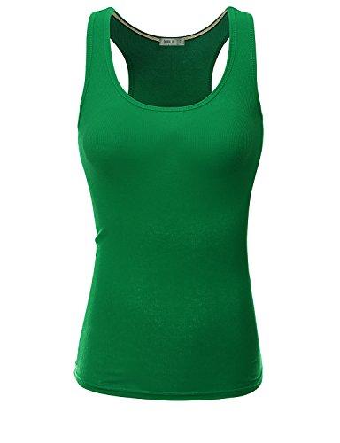 Doublju Women Active Wear Soft Fabric Bell Top Sophia DEEPGREEN T-shirt,L